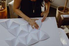 DIY geometric paper backdrop - photo by Megan Saul Photography http://ruffledblog.com/diy-geometric-paper-backdrop