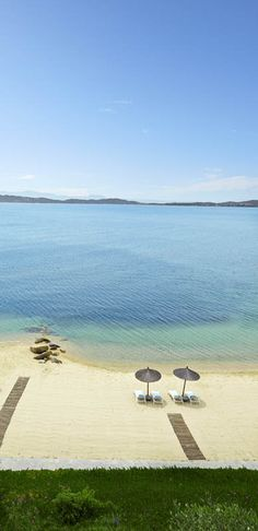 The beach at the Eagles Palace Hotel in Halkidiki, Greece