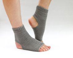 grey hand knit toe less / pedicure / yoga socks by HappyLaika, £18.00
