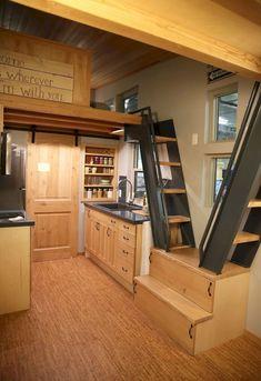 Genius loft stair for tiny house ideas.