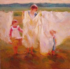 Laundry Day Diane Leonard  I just love Diane's use of light and colour! Her paintings fill me with delight and joy! JAH