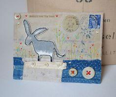 ARTWORK ORIGINAL envelope mixed media ooak ... Donkeys ... they are the best by hensteeth on Etsy