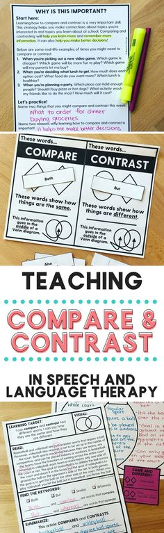 TONS of ideas for working on compare and contrast in speech and language therapy! Perfect for middle school therapists working on higher level language skills. From Speechy Musings.