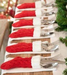 Porta cubiertos calcetines de Navidad