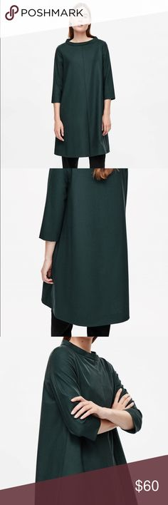 NWT COS wool wide neck dress 🎉 price lowered for closet clear out🎉 Really stylish A line dress in forest green. Wool with a nice weight to it, but not too heavy. 3/4 length sleeves. Brand new with original tags. Dresses Long Sleeve