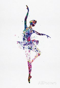 Ballerina Dancing Watercolor 2 Posters na AllPosters.com.br