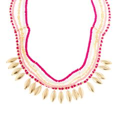 Neva Pink, Gold and White Seed Bead with Gold Marquis Statement Necklace | Icing