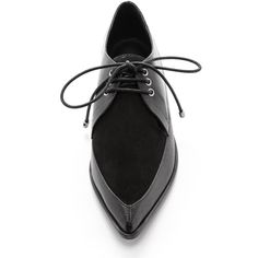 Tibi Kern Pointed Toe Oxfords - Black (26.200 RUB) ❤ liked on Polyvore featuring shoes, oxfords, flats, eleanor calder, leather oxfords, black oxfords and black flats