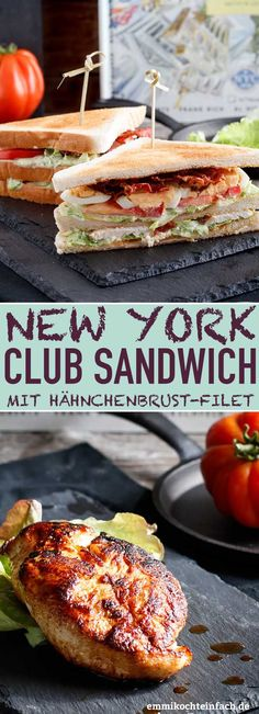 New York Club Sandwich - so simple and tasty - easy to cook - . - New York Club Sandwich – so simple and tasty – easy to cook – - Easy Chicken Recipes, Easy Dinner Recipes, Seafood Recipes, Chicken Breast Fillet, Le Diner, Quick Easy Meals, Kids Meals, Food And Drink, Healthy Recipes