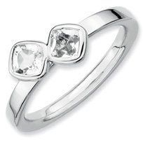0.69ct Silver Stackable Db Cushion Cut Wh. Topaz Ring. Sizes 5-10 Available Jewelry Pot. $27.99. All Genuine Diamonds, Gemstones, Materials, and Precious Metals. Fabulous Promotions and Discounts!. Your item will be shipped the same or next weekday!. 100% Satisfaction Guarantee. Questions? Call 866-923-4446. 30 Day Money Back Guarantee. Save 64% Off!