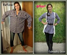 Gallimaufry Grove: Men's Scarecrow Shirt Refashion -- From oversized men's shirt to sassy women's tunic! #refashion #upcycle
