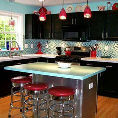 Red and turquoise Kitchen