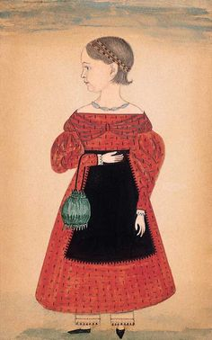 young girl in red watercolor and pencil on paper 1835-1840 NY collection of the american folk art museum