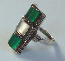 Theodor Fahrner sterling Deco ring in chrysoprase and rock crystal with inlaid marcasites.