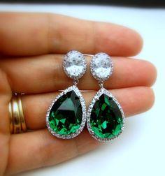 wedding jewelry bridal jewelry wedding earrings bridal earrings Clear teardrop AAA cubic zirconia and emerald green crystal on oval cz post on Etsy, $54.00