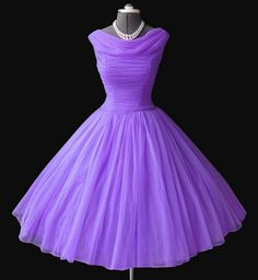 purple chiffon 50s dress.. I wish that this was still the style!