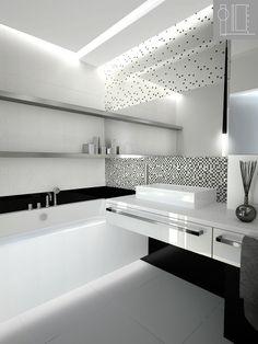 geometryczna biało-czarna Bathroom Design Luxury, Modern Bedroom Design, Modern Bathroom, Dream Bathrooms, Beautiful Bathrooms, Bathroom Tub Shower, Luxury Modern Homes, Living Room Decor Cozy, Bathroom Styling