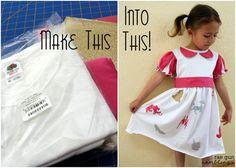 T-shirt refashion. Fun princess dress made from a men's tshirt and fabric scraps - Rae Gun Ramblings