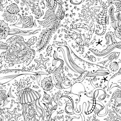 Find Vector Seamless Pattern Underwater Wild Animals stock images in HD and millions of other royalty-free stock photos, illustrations and vectors in the Shutterstock collection. Ocean Coloring Pages, Cartoon Coloring Pages, Animal Coloring Pages, Colouring Pages, Coloring Books, Doodle Coloring, Mandala Coloring, Adult Coloring, Crafts To Do