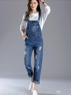 New Women Overalls Ripped Jeans Girls Jumpsuits Cropped Pants Leisure Trousers Womens Denim Overalls, Womens Ripped Jeans, Denim Jeans, Ripped Denim, Suspender Pants, Slim, Dress To Impress, Trousers, Casual