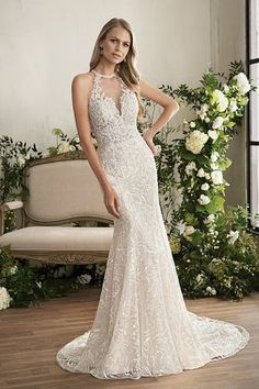 T202004 Illusion Bodice , Halter Illusion Neckline Embroidered Lace & Silky Jersey Wedding Dress