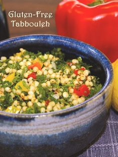 Gluten-Free Tabbouleh with Grilled Peppers, Fresh Herbs and a Surprise Healthy Whole Grain! Naturally vegan, dairy-free and top allergen-free recipe. Perfect for barbecues & al fresco dining!