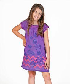 Loving this Violet Floral Chevron Valentine Dress - Toddler & Girls on #zulily! #zulilyfinds