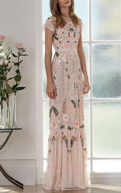 Pink Floral Embroidered Tiered Maxi Dress by Needle & Thread for Preorder on Moda Operandi Fashion Mode, Modest Fashion, Dress Fashion, Runway Fashion, Fashion News, Evening Dresses, Prom Dresses, Formal Dresses, Summer Dresses