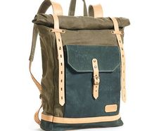 Waxed Canvas Backpack Roll top with brown leather by Phestyn