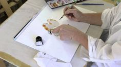 Monika Reiter conducts a Water Colour & Ink painting tutorial (video in German)