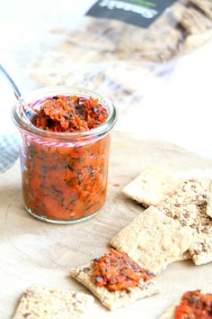 homemade red pepper tapenade is an idea for a bread spread. Tapenade, Gourmet Recipes, Vegetarian Recipes, Snack Recipes, Healthy Recipes, Snacks Für Party, High Tea, Food Inspiration, Food Print