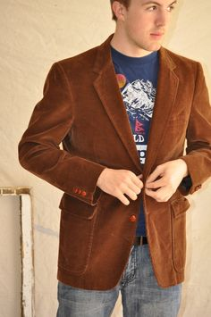 9c4b3fce54 Brown Corduroy Mens Sportscoat Jacket Blazer 42R