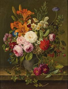 Gottfried Wilhelm Völcker (1775-1849) - Flower still life, oil on panel, 62,5 x 48,5 cm. 1833.