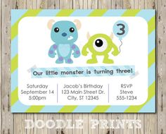 "Printable Monsters Inc Birthday Party Invitation - Customized Printable Invitation Boy's Party ""Monsters Inc - Mike and Sully"" 5x7"" on Etsy, $8.00"