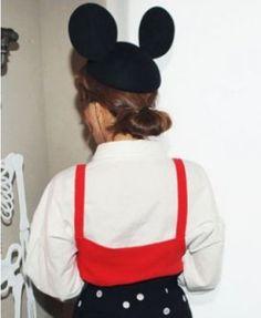 Black Mickey Ears Wool Hat