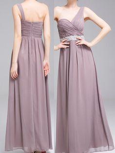 Lang A-Linie Chiffon 1-Schulter Brautjungfernkleid