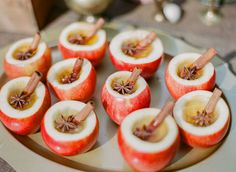 Rustic Fall Wedding Inspiration: Apple cider in hollowed apples