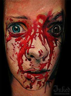 Sandor Pongor #InkedMagazine #bloody #blood #face #scared #tattoo #tattoos #horror #inked