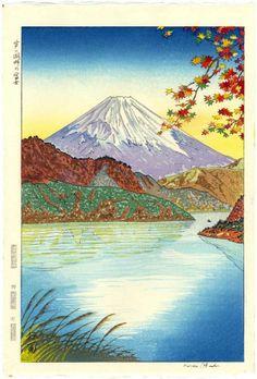 KOICHI OKADA Japanese Woodblock Print MT. FUJI FROM ASHINOKO 1950