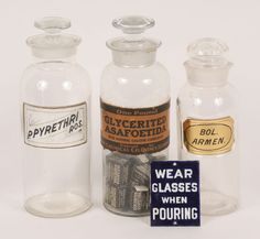 Apothecary Jar Porcelain Pharmacy Sign 4pc- wear glasses when pouring will be a nice addition