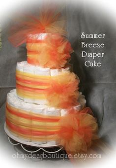 Baby Shower Diaper Cake, 3 Tier Diaper Cake, Red and Orange. Baby Shower Diapers, Baby Shower Gifts, Baby Gifts, Diy Diaper Cake, Nappy Cakes, Babies R, Green Style, Party Ideas, Gift Ideas