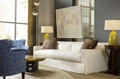 Two Cushion Sofa in Smith Natural , Optional Throw Pillows in One-of-a-Kind Antique Rug, Chair in Verona Lapis