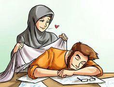 kumpulan kartun romantis parf 3 - my ely Cute Muslim Couples, Muslim Girls, Muslim Women, Cute Couples, Islam Marriage, Islamic Cartoon, Anime Muslim, Muslim Family, Love In Islam