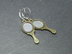 Mirror Charm Earrings - Bronze Looking Glass - Gothic Fairytale Jewellery UK #Unbranded #DropDangle Bronze Jewellery, Jewellery Uk, Copper Jewelry, Fairytale, Gothic, Dangles, Handmade Jewelry, Charmed, Mirror