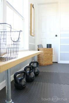 Home Gym Makeover Reveal - Sawdust 2 Stitches - Home Gym Makeover by Sawdust 2 . Home Gym Makeover Diy Home Gym, Gym Room At Home, Home Gym Decor, Workout Room Home, Workout Rooms, Basement Gym, Basement Remodeling, Garage Gym, Home Gym Design