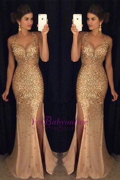 Luxury Gold Mermaid Prom Dresses Sleeveless Front Split Crystals Long Evening Gowns_Wholesale Wedding Dresses, Lace Prom Dresses, Long Formal Dresses, Affordable Prom Dresses - High Quality Wedding Dresses - Yesbabyonline.com