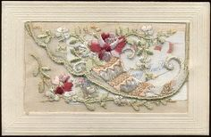 Silk embroidered postcard