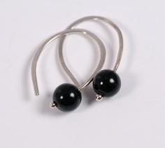 Black Onyx Sterling Silver Open Hoop Earrings. $15.00, via Etsy.