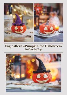 Halloween Toys, Halloween Patterns, Halloween Pumpkins, Halloween Decorations, Crochet Toys Patterns, Stuffed Toys Patterns, Knitting Patterns, Knitting Ideas, Handmade Toys