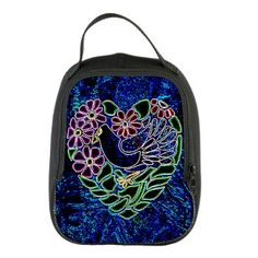 Gothic Bird in Heart Neoprene Lunch Bag from #Jan4insightDesigns on Cafepress